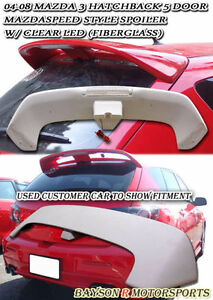 Ms style Rear Roof Spoiler Wing fiberglass Fits 04 09 Mazda 3 Hatch 5dr