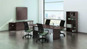 8ft Stylish Modern Office Conference Table With Mocha Laminate Finish