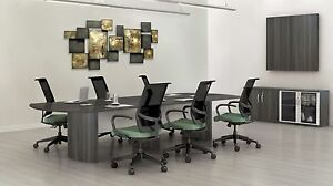 10ft Stylish Modern Office Conference Table With Gray Steel Laminate Finish