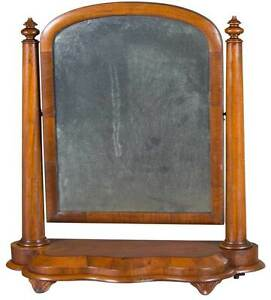 Antique English Mahogany Framed Shaving Mirror On Stand Tilting