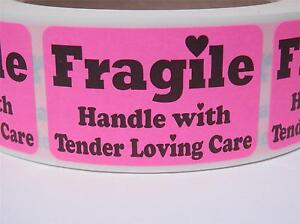 Fragile Handle With Tender Loving Care 1 25x2 Stickers Labels Fluor Pink 250 rl