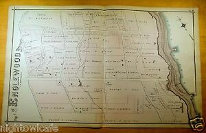 Rare 1876 Very Detailed Map Part Of Englewood Nj New Jersey Original