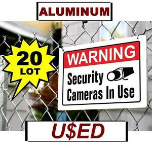 20 Used Warning Security Cameras In Use 10 X 14 aluminum Metal Sign Video Spy