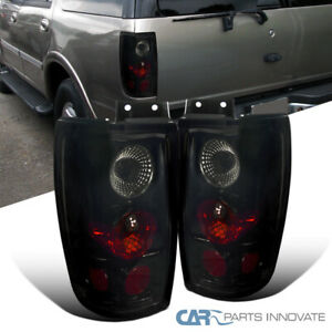 Glossy Black For 97 02 Ford Expedition Dark Smoke Tail Lights Rear Brake Lamps