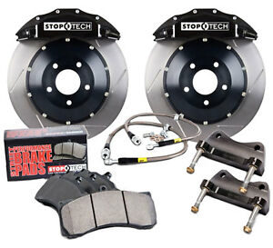 Stoptech Black Front Brake Pad Kit Calipers Slotted Rotors For 2001 06 Bmw M3