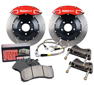 Stoptech Red Front Brake Kit Calipers Slotted Rotors For 2007 11 Honda Civic Si