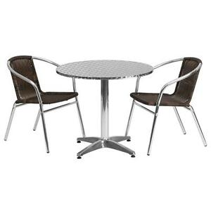 31 5 Round Aluminum Indoor outdoor Table With 2 Rattan Chairs