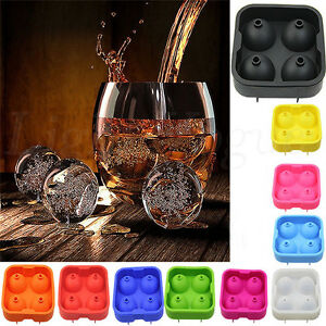 Silicon Whiskey Ice Cube Ball Maker Mold Sphere Mould Brick Party Tray Round bb