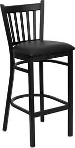 Lot Of 8 Black Vertical Back Metal Restaurant Bar Stool Black Vinyl Seat