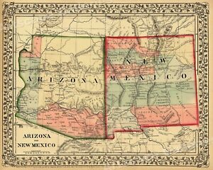 1867 Arizona New Mexico Historic Wagon Route Map 24x30