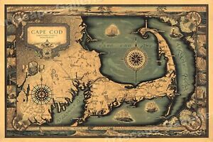 1930s Cape Cod Historic Old Wall Map 20x30