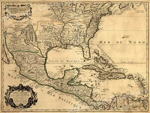 1700s New World Spanish Colonies Old Map 20x28