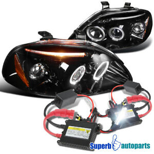 For 1996 1998 Civic Led Halo Projector Headlight Glossy Black H1 Slim Hid Kit