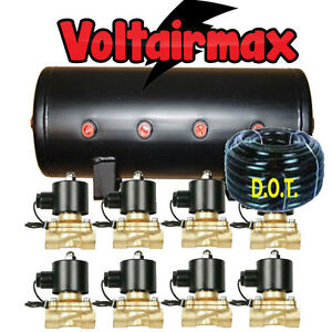 V 5 Gal Air Tank 8 Port Air Ride Suspension 50 1 2 Airhose 8 1 2 valves