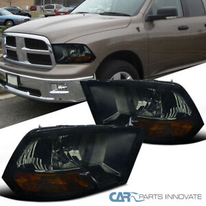 For 09 19 Dodge Ram 1500 2500 3500 Smoke Lens Headlights Tinted Head Lamps Set