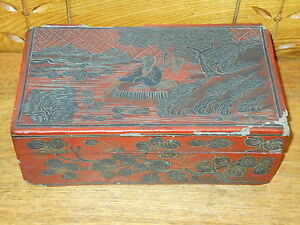 Antique Old Chinese Red Lacquer Cinnabar Style Box As Is