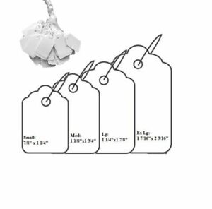 1000pc Blank White Merchandise Price Tags W String Jewelry Retail Strung