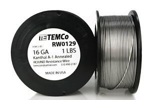Temco Kanthal A1 Wire 16 Gauge 1 Lb 159 Ft Resistance Awg A 1 Ga
