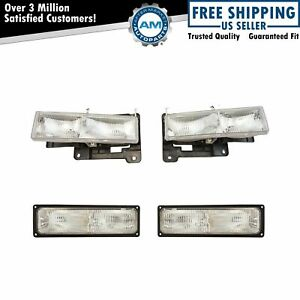 Headlights Parking Signal Light Set Kit For 94 98 Chevy Gmc C1500 K1500 Truck