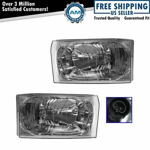 Headlamps Headlights W Clear Lens Left Right Pair Set For Ford Pickup Truck
