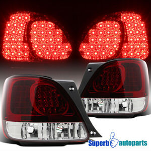 For 98 05 Lexus Gs300 gs400 Red Clear Led Tail Light Rear Brake Lamps Pair