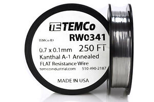 Temco Flat Ribbon Kanthal A1 Wire 0 7mm X 0 1mm 250 Ft Resistance A 1