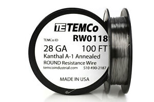 Temco Kanthal A1 Wire 28 Gauge 100 Ft Resistance Awg A 1 Ga