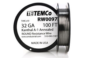 Temco Kanthal A1 Wire 32 Gauge 100 Ft Resistance Awg A 1 Ga