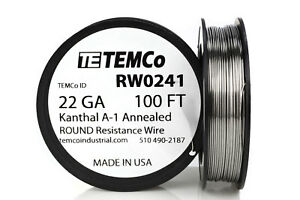 Temco Kanthal A1 Wire 22 Gauge 100 Ft Resistance Awg A 1 Ga