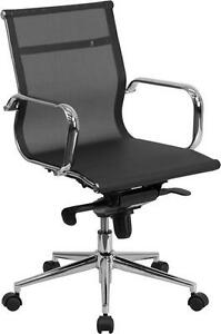 Mid back Black Mesh Executive Swivel Conference Table Chair W Synchro tilt Mech
