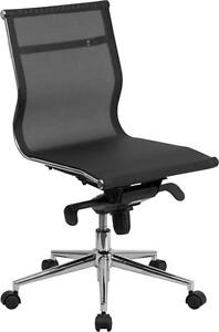 Mid back Armless Black Mesh Executive Conference Table Chair