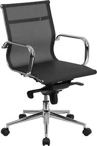 Lot Of 10 Mid back Black Mesh Executive Swivel Conference Table Chair