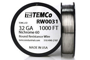 Temco Nichrome 60 Series Wire 32 Gauge 1000 Ft Resistance Awg Ga
