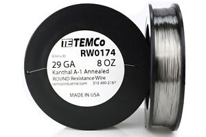 Temco Kanthal A1 Wire 29 Gauge 8 Oz 1613 Ft Resistance Awg A 1 Ga