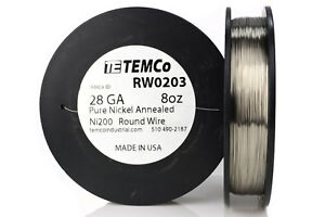 Temco Pure Nickel Wire 28 Gauge 8 Oz Non Resistance Awg Ni200 Nickel 200 ga