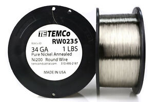 Temco Pure Nickel Wire 34 Gauge 1 Lb Non Resistance Awg Ni200 Nickel 200 ga
