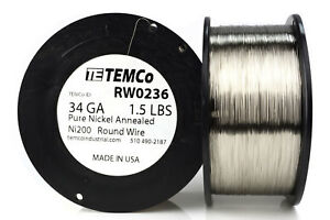 Temco Pure Nickel Wire 34 Gauge 1 5 Lb Non Resistance Awg Ni200 Nickel 200 ga