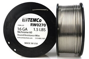 Temco Nichrome 60 Series Wire 16 Gauge 1 5 Lb 208 Ft resistance Awg Ga