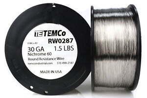 Temco Nichrome 60 Series Wire 30 Gauge 1 5 Lb 5376 Ft resistance Awg Ga