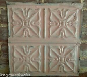 1890 S Reclaimed Metal 12 X 12 Antique Tin Ceiling Tile Pink Q12