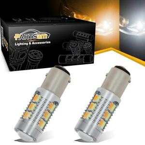 2pcs 1157 22 5730 Smd Dual Color Switchback Front Turn Signal Light Amber White