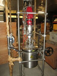 12113 004 Used Buchiglasuster Stainless Steel Pilot Reactor 16 5 Liter Capacity