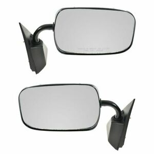 Manual Side View Mirrors Black Left Right Pair Set For Chevy Gmc Pickup Truck
