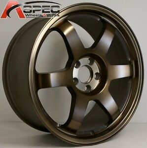 16x7 Rota Grid Wheels 5x114 3 Sport Bronze Rims Fits 5 Lug Type R Civic Mr2
