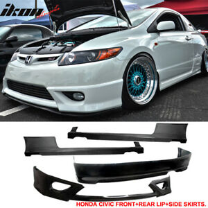 Fits 06 08 Honda Civic 2dr Coupe Hfp Style Front Rear Bumper Lip Side Skirts