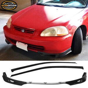 Fits 96 00 Honda Civic 3dr 3pc Urethane Front Bumper Lip Chin Sun Window Visor