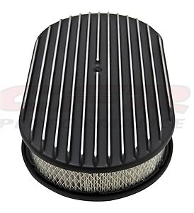 Aluminum 15 Oval Air Cleaner Paper Filter Polished Finned Black