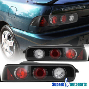 For 94 01 Acura Integra 2dr Black Tail Lights Rear Brake Lamps Pair