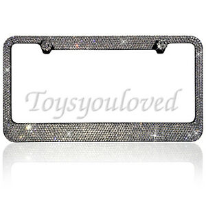 8 Row Clear Crystal Bling License Plate Frame Made With 100 Swarovski Elements