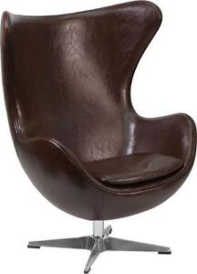Brown Leather Egg Chair With Tilt lock Mechanism